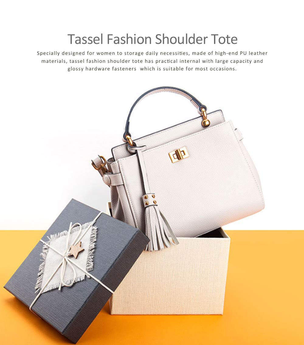 First Layer Leather Handbags With Magnetic Suction Button, Tassel Fashion Shoulder Tote European and American New Style For Women 0