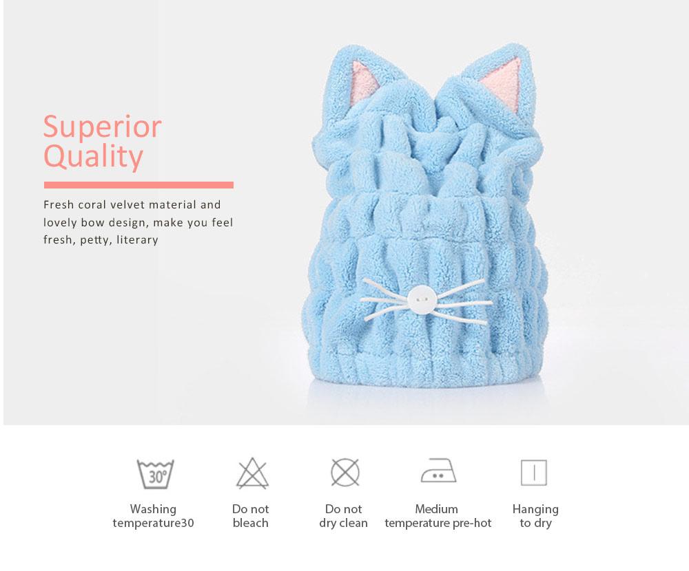 Coral Velvet Shower Cap, Super Absorbent Cat Ears Dry Hair Towel, Thickening Adult Children Universal Dry Hair Cap 4