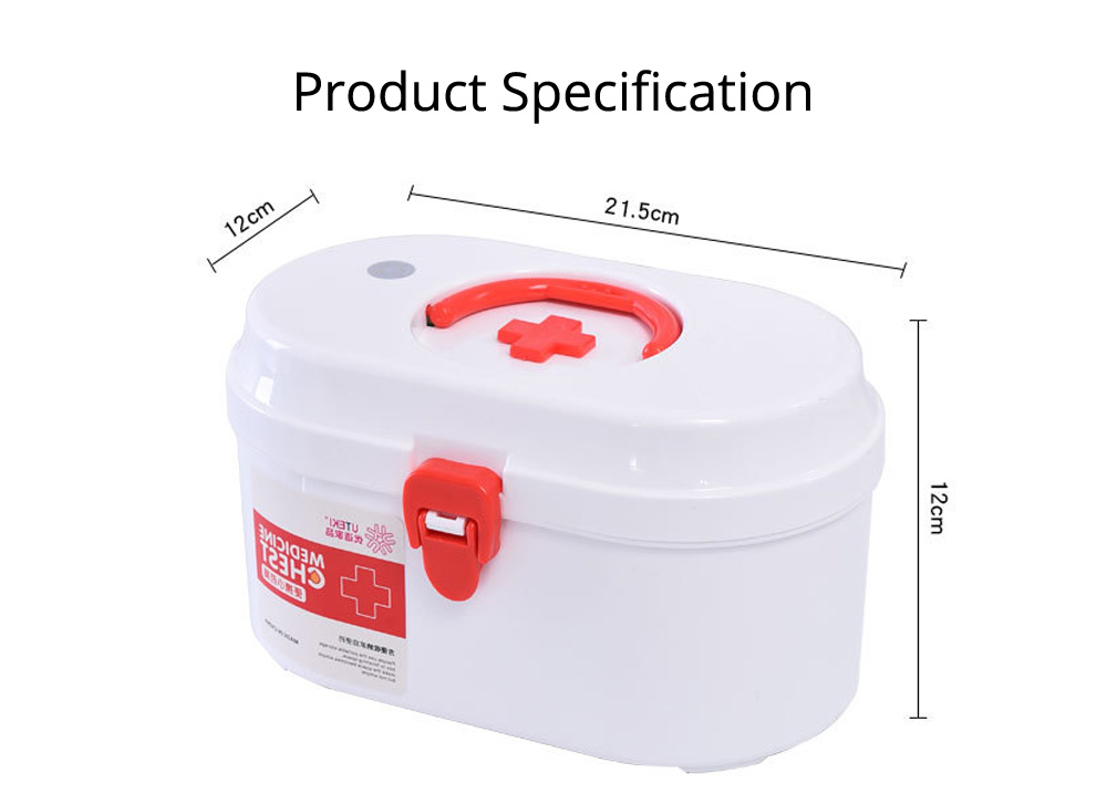 Household Medicine Chest Pill Storage Box, Portable Plastic Emergency First Aid Pill Drug Kit Box 7