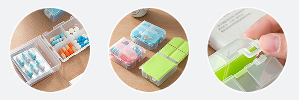Double-Sided Pill Box Portable Separate Compartments Organizer Medicine Drug Storage Container Box 4