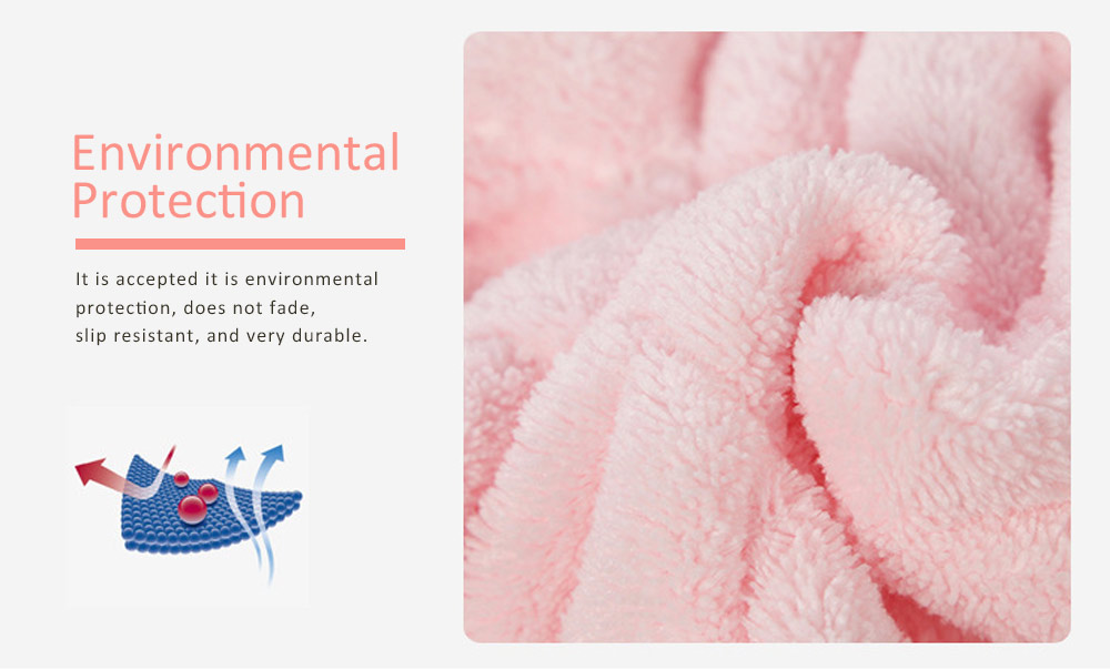 Coral Velvet Shower Cap, Super Absorbent Cat Ears Dry Hair Towel, Thickening Adult Children Universal Dry Hair Cap 2