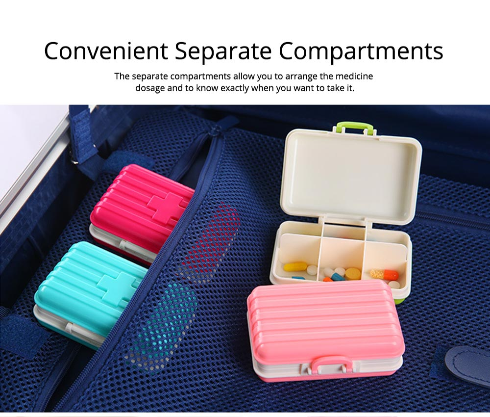 Creative Luggage Modeling Mini Pill Case, Jewelry Storage Box 6 Slots Multifunctional Organizer for Ladies 5