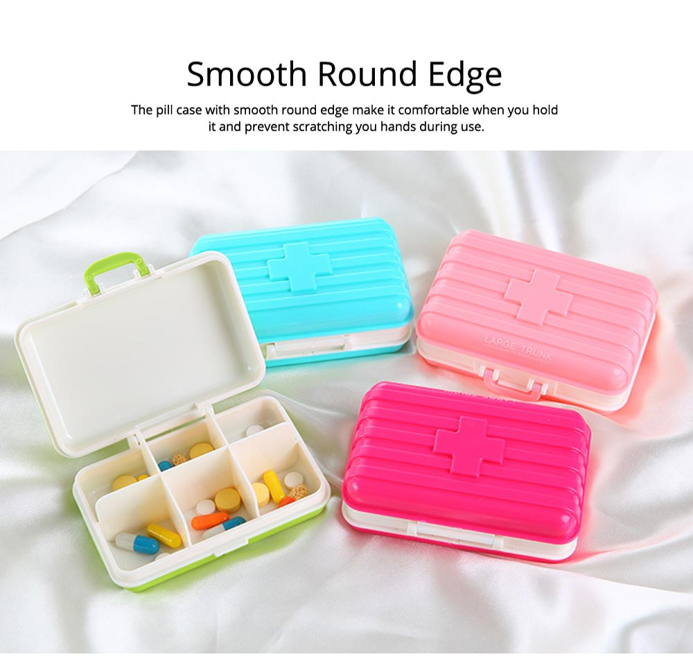 Creative Luggage Modeling Mini Pill Case, Jewelry Storage Box 6 Slots Multifunctional Organizer for Ladies 8