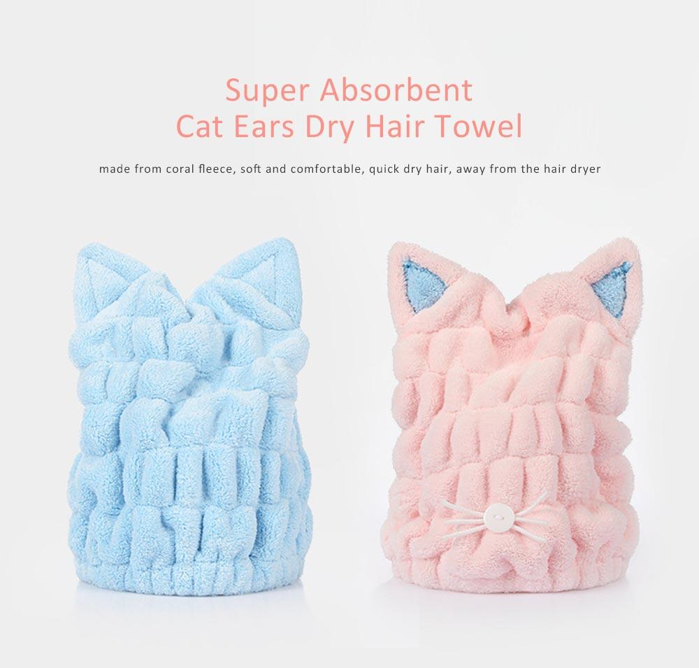 Coral Velvet Shower Cap, Super Absorbent Cat Ears Dry Hair Towel, Thickening Adult Children Universal Dry Hair Cap 0