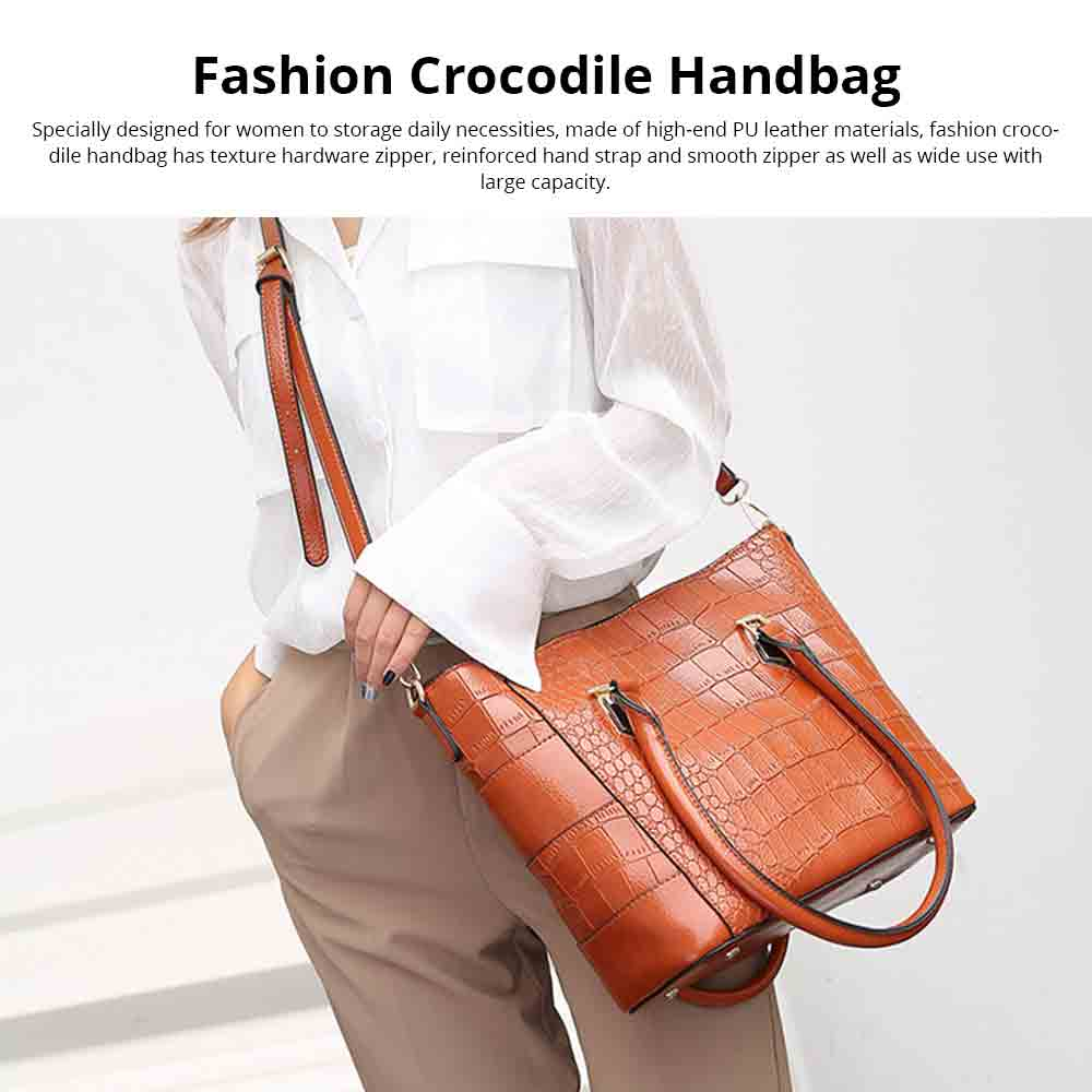 Fashion Wild Simple Shoulder Bag With Smooth Hardware Zipper, Crocodile Elegant Portable Handbag for Ladies 0