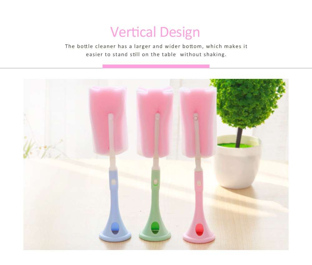 Long-handled Sponge Brush, Suspensible Plastic Vertical Brush For Vacuum Cups, Water Glass and Baby Milk Bottle Cleaning 1