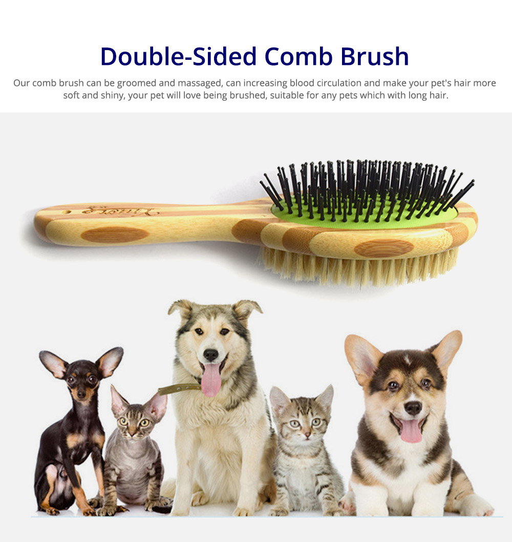 Pet Comb Dog Grooming Brush for Bath and Massage, Professional Double Sided Pin & Bristle Bamboo Brush for Dogs & Cats 5