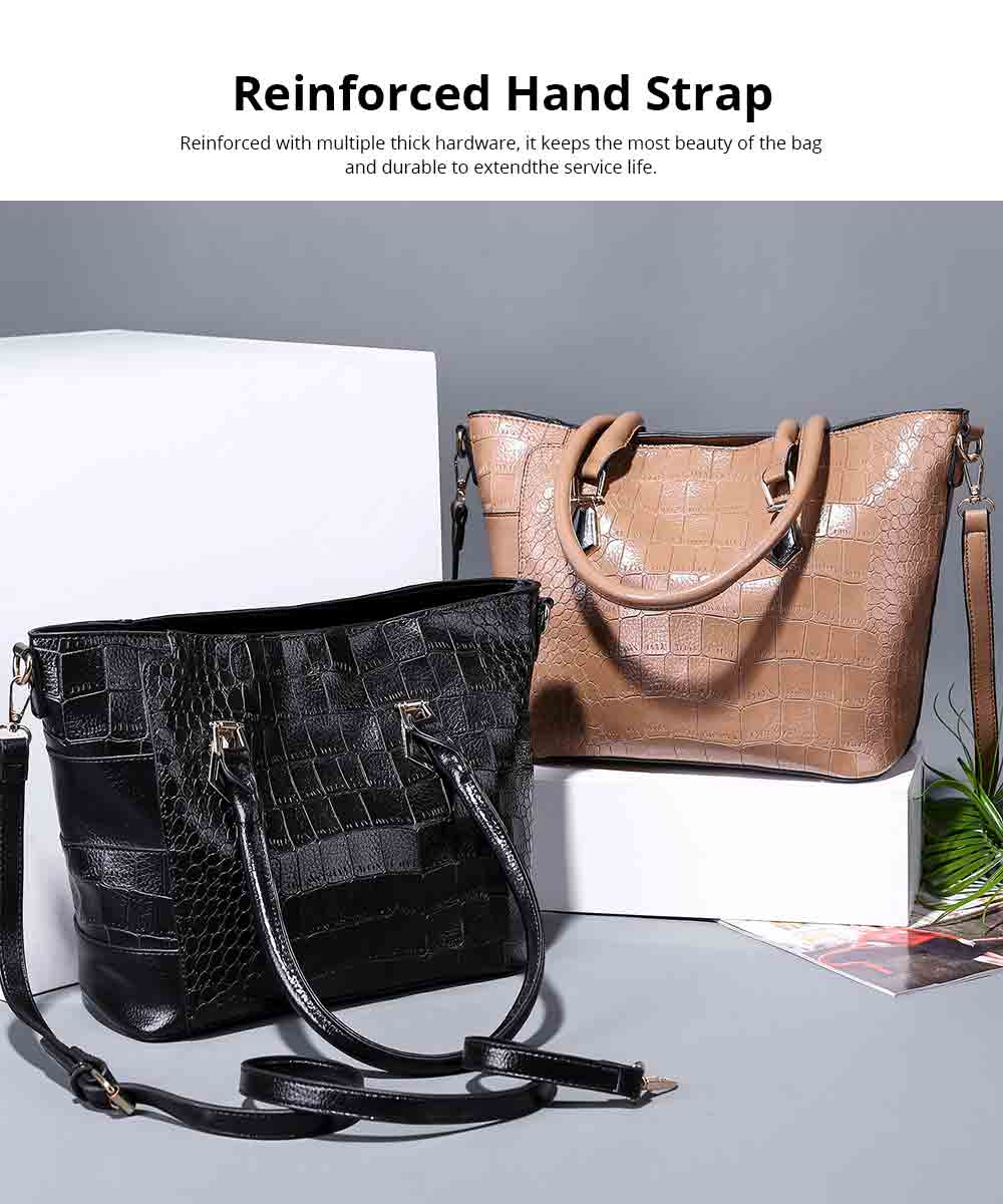 Fashion Wild Simple Shoulder Bag With Smooth Hardware Zipper, Crocodile Elegant Portable Handbag for Ladies 3