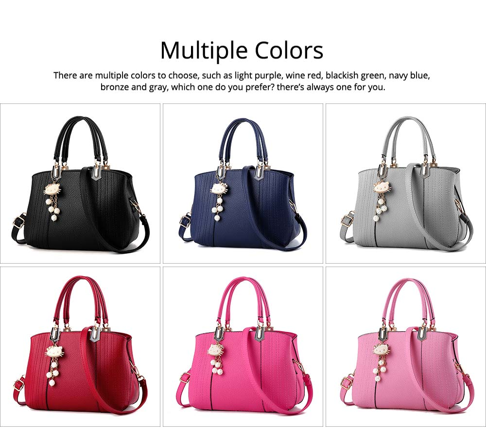 Single Shoulder Bag, Women PU Leather Messenger Bags for Ladies, Waterproof Female Luxury Cross Body Handbags with Hello Kitty Pendant 18