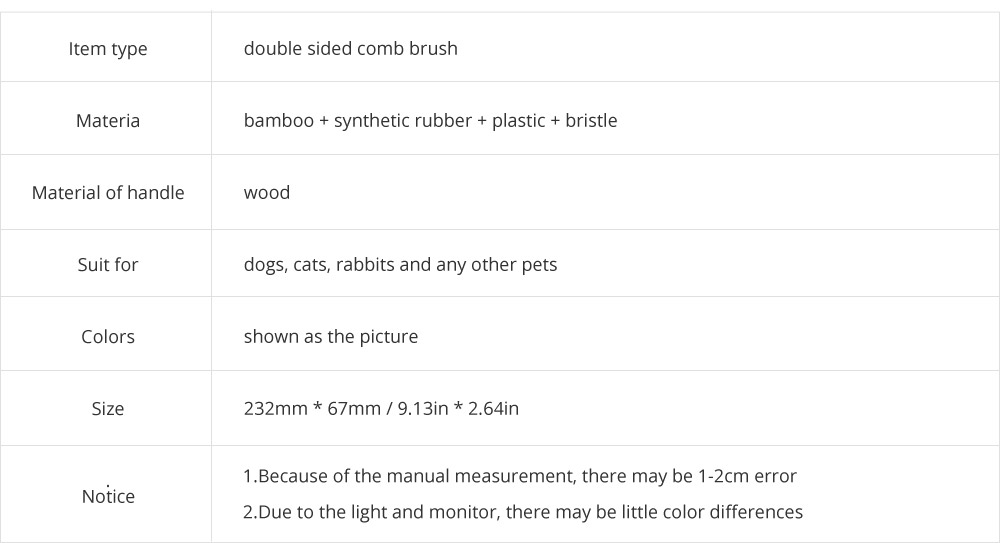 Pet Comb Dog Grooming Brush for Bath and Massage, Professional Double Sided Pin & Bristle Bamboo Brush for Dogs & Cats 8