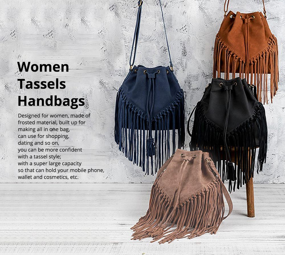Ladies Bucket Bag Luxury Cross Body Handbags, Women Tassels Single Shoulder Bags Messenger Bags 0
