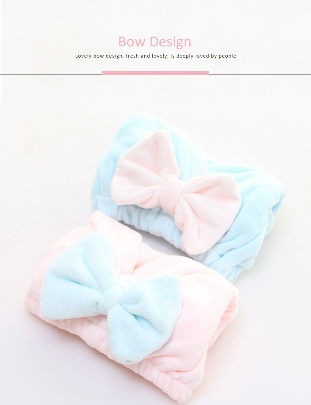 Dry Hair Cap Microfiber Bow, Soft Strong Absorbent Shower Cap 1