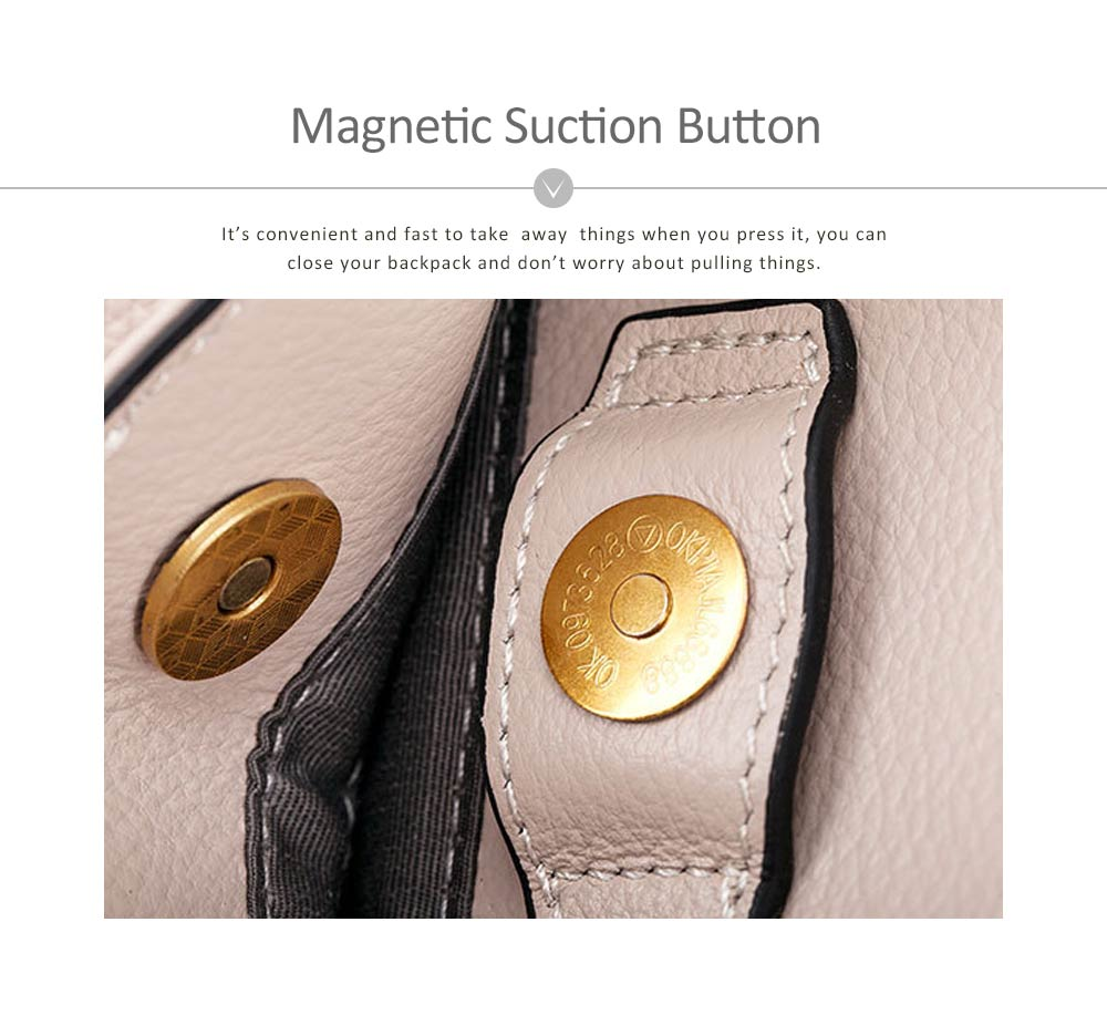 First Layer Leather Handbags With Magnetic Suction Button, Tassel Fashion Shoulder Tote European and American New Style For Women 4