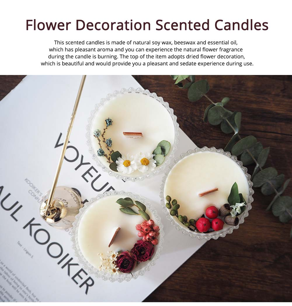 Hand-made Scented Candles with Dried Flowers and Pretty Glass, Creative Festival Home Decoration Furnishings Gift for Friends 0