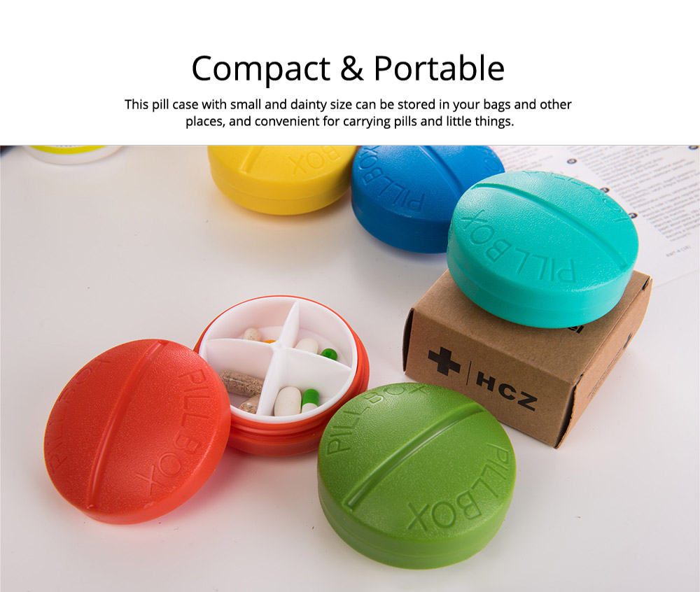 Portable Medicine Drug Jewelry Storage Box, Colorful Pills Modeling Organizer Medical Mini Pill Case, 4 Slots 16