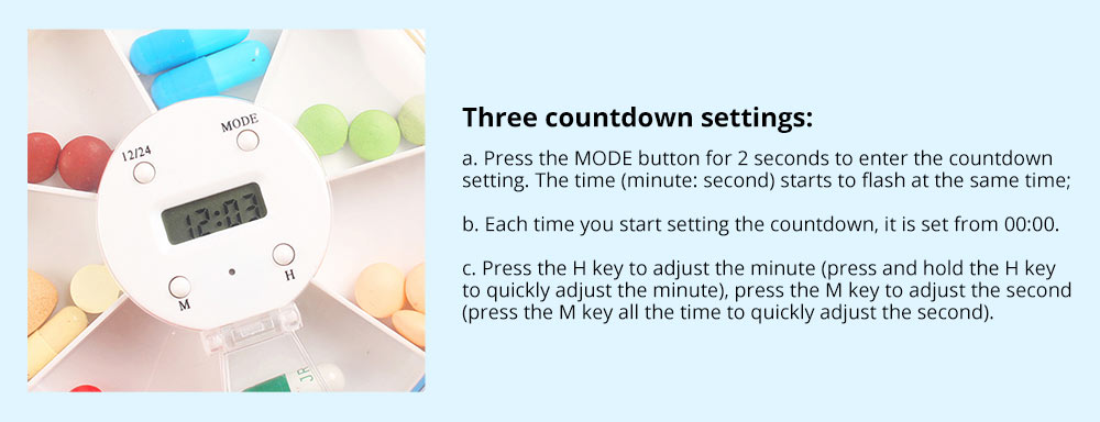 Pill Box With Timer Reminder 7-divided Electronic Pill Box Intelligent Electronic Kit 9