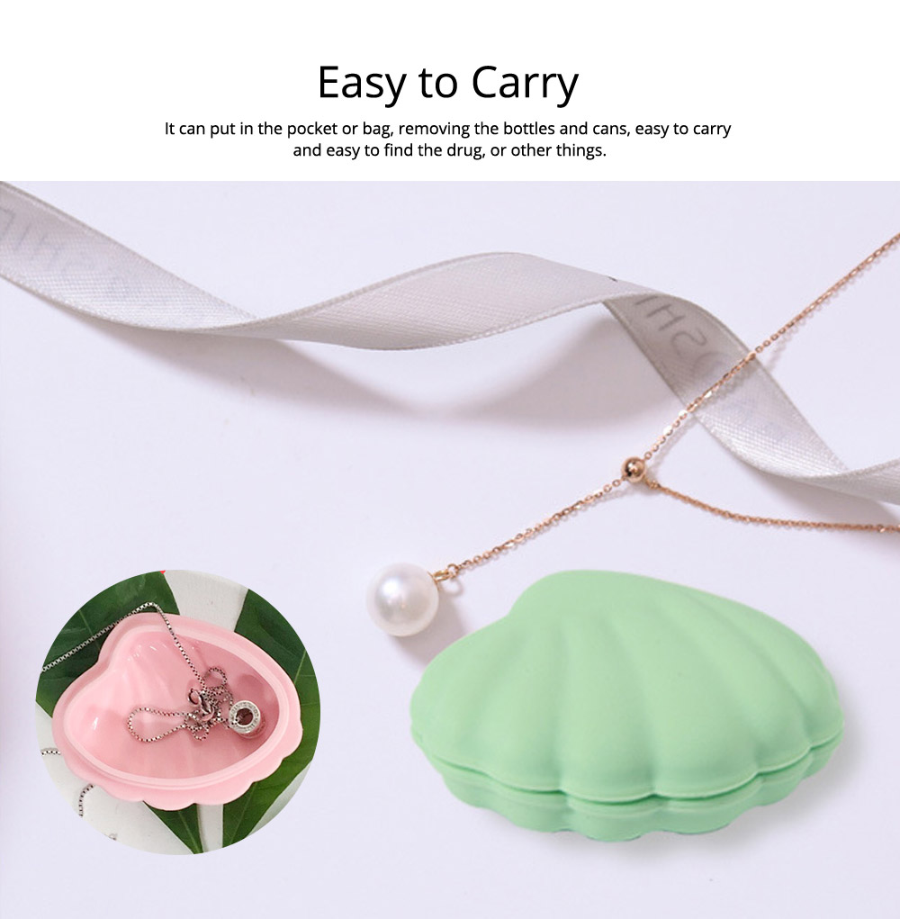 Scallop Pill Storage Box Multi-function Silicone Dustproof Storage Box for Capsule Candy Jewelry Gadgets 6