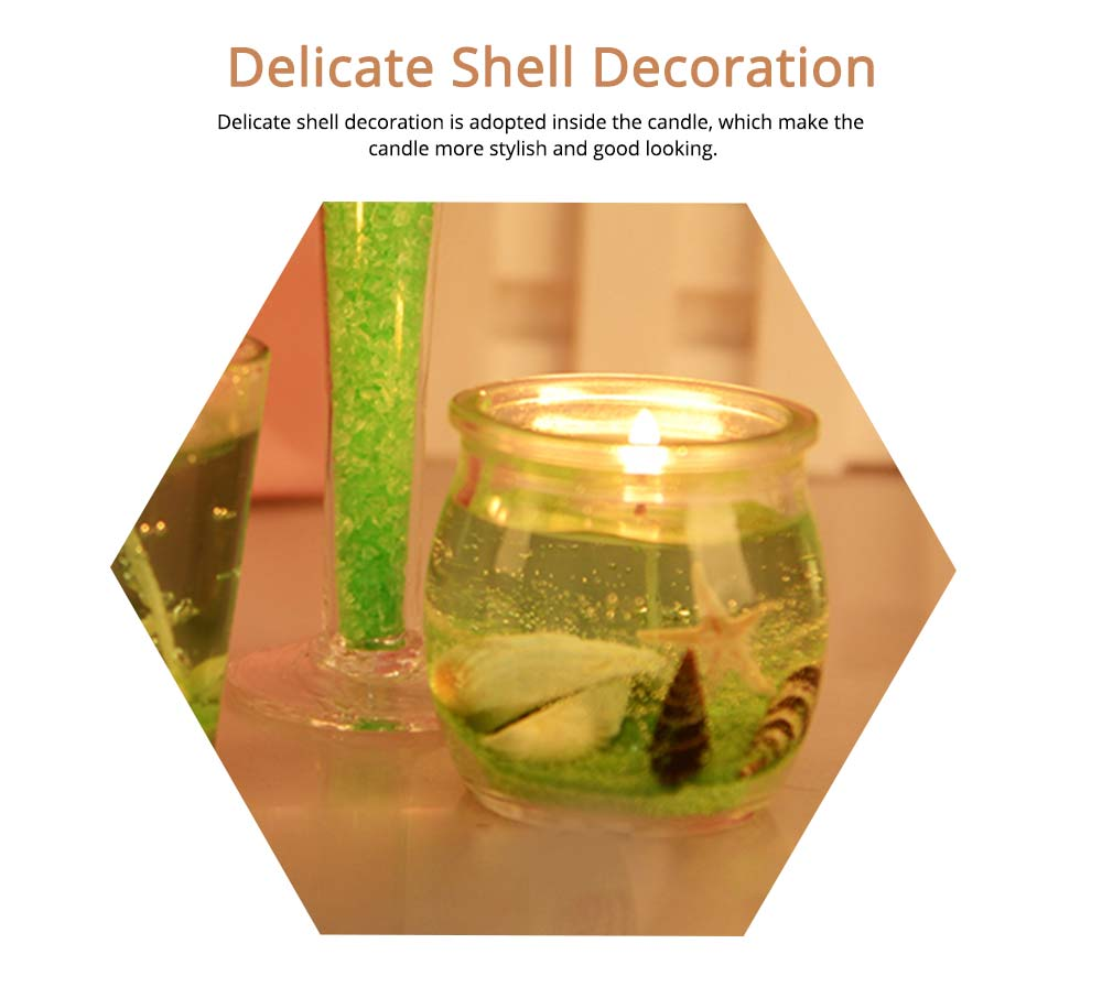 Romantic Fragrance Scented Candles Set Marine Organism Decoration, Valentine's Day Weeding Birthday Present Jelly Candle Suit 3