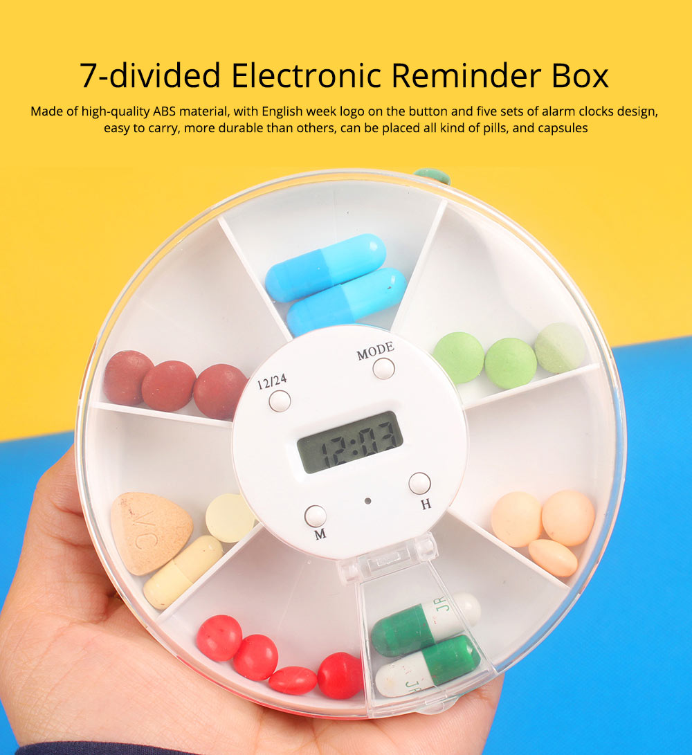 Pill Box With Timer Reminder, 7-divided Electronic Pill Reminder Box  Intelligent Electronic Kit 7