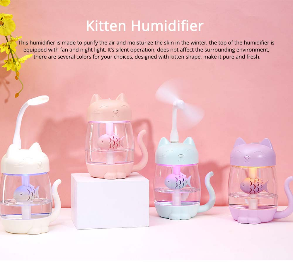 Mini Humidifiers For Bedroom, Kitten Humidifier For Air Multifunctional USB With Fan, Light Mute Humidification 0