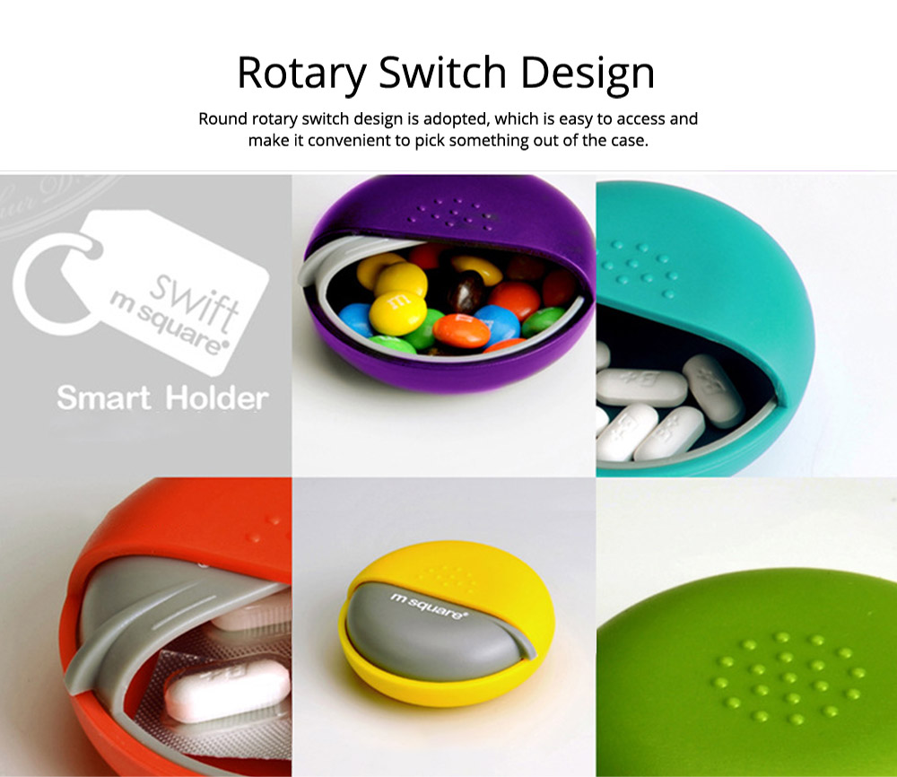 Round Pill Box Organizer Rotary Switch Mini Medical Pill Case for Pills Jewelry Chewing Gums 4