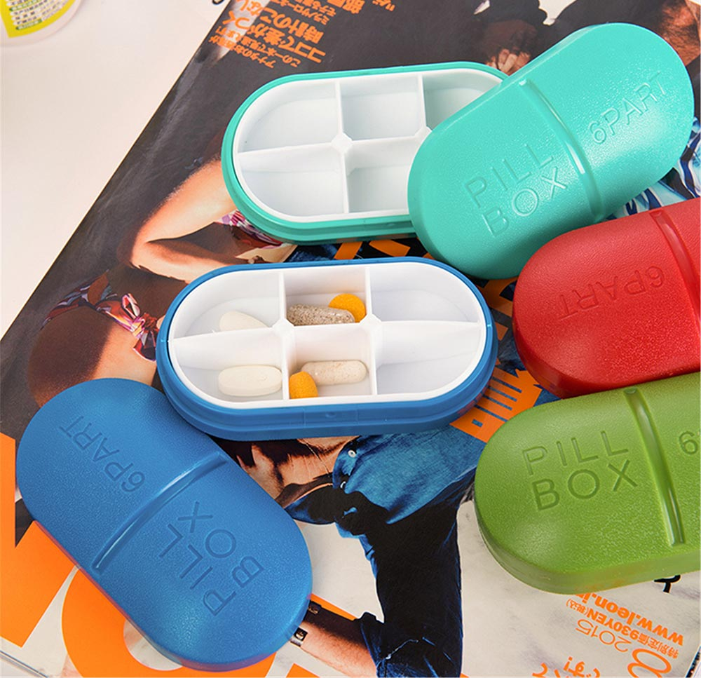 Pill-Capsule Shaped Pill Holder Cute Pill Box 6 Times a Day 1