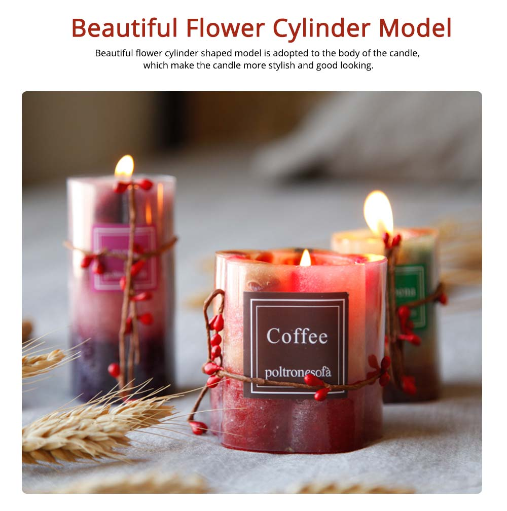 Romantic Atmosphere Flower Cylinder Shaped Scented Candle, Creative Smokeless Fragrance Home Living Room Decoration 3