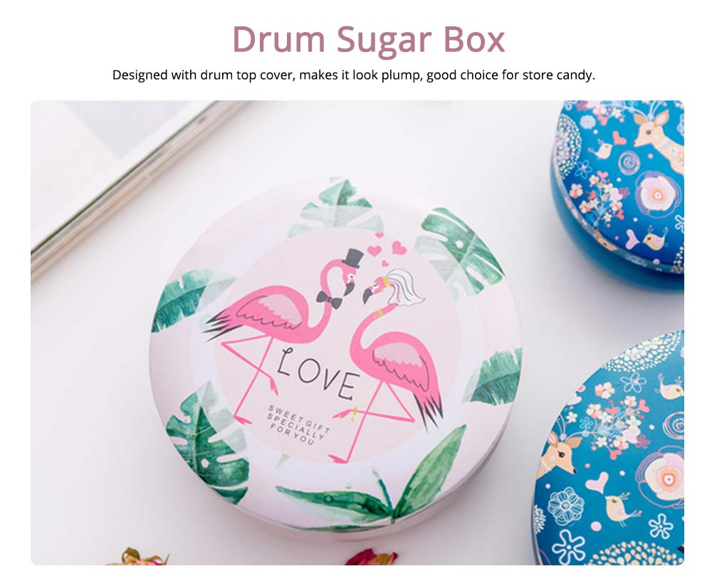 Sugar Box with Drum Top Cover for Marriage, Tinplate Box Candy Storage Organizer Box 1