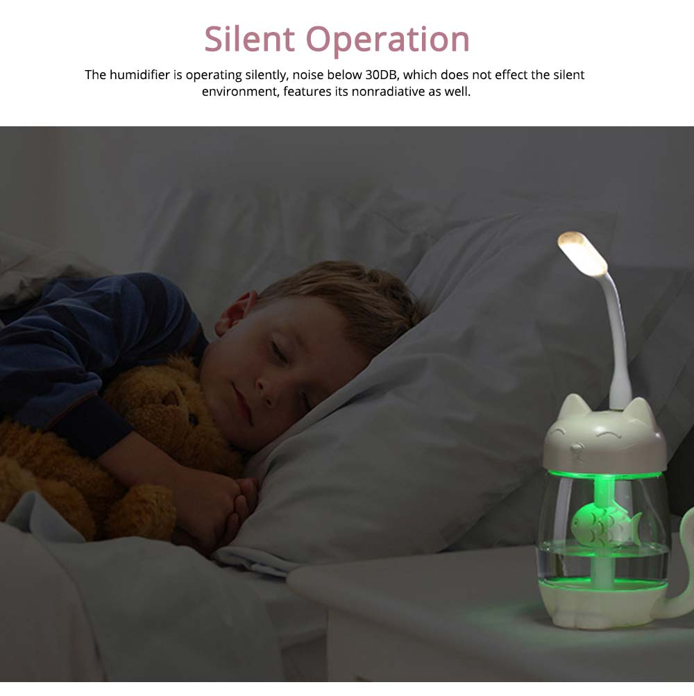 Mini Humidifiers For Bedroom, Kitten Humidifier For Air Multifunctional USB With Fan, Light Mute Humidification 7
