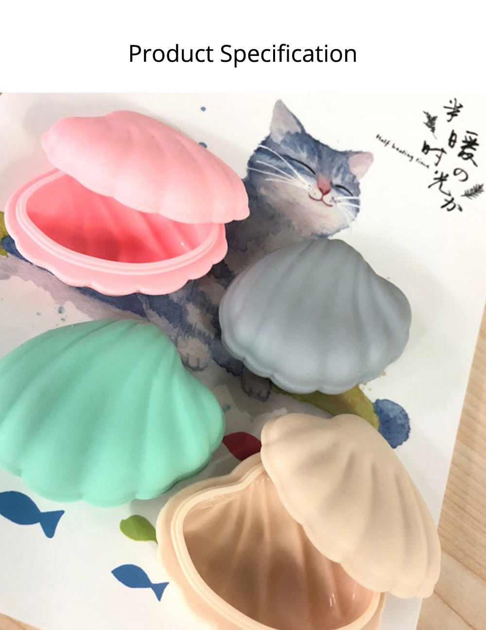 Scallop Pill Storage Box Multi-function Silicone Dustproof Storage Box for Capsule Candy Jewelry Gadgets 7