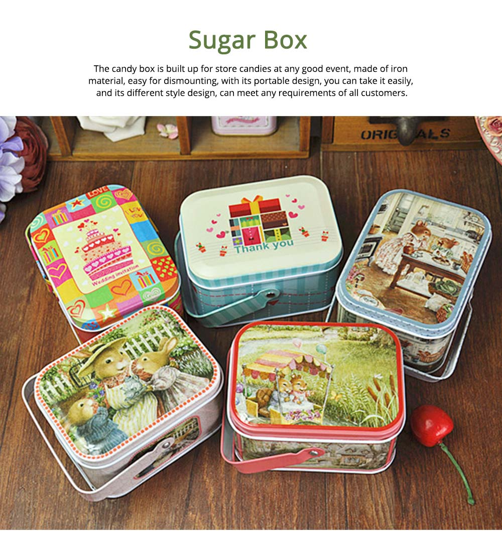 Portable Candy Box with Cover, Iron Storage Box for Weeding, Party, Gathering, Gift Bag Sugar Box 0