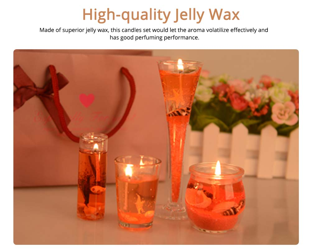 Romantic Fragrance Scented Candles Set Marine Organism Decoration, Valentine's Day Weeding Birthday Present Jelly Candle Suit 1