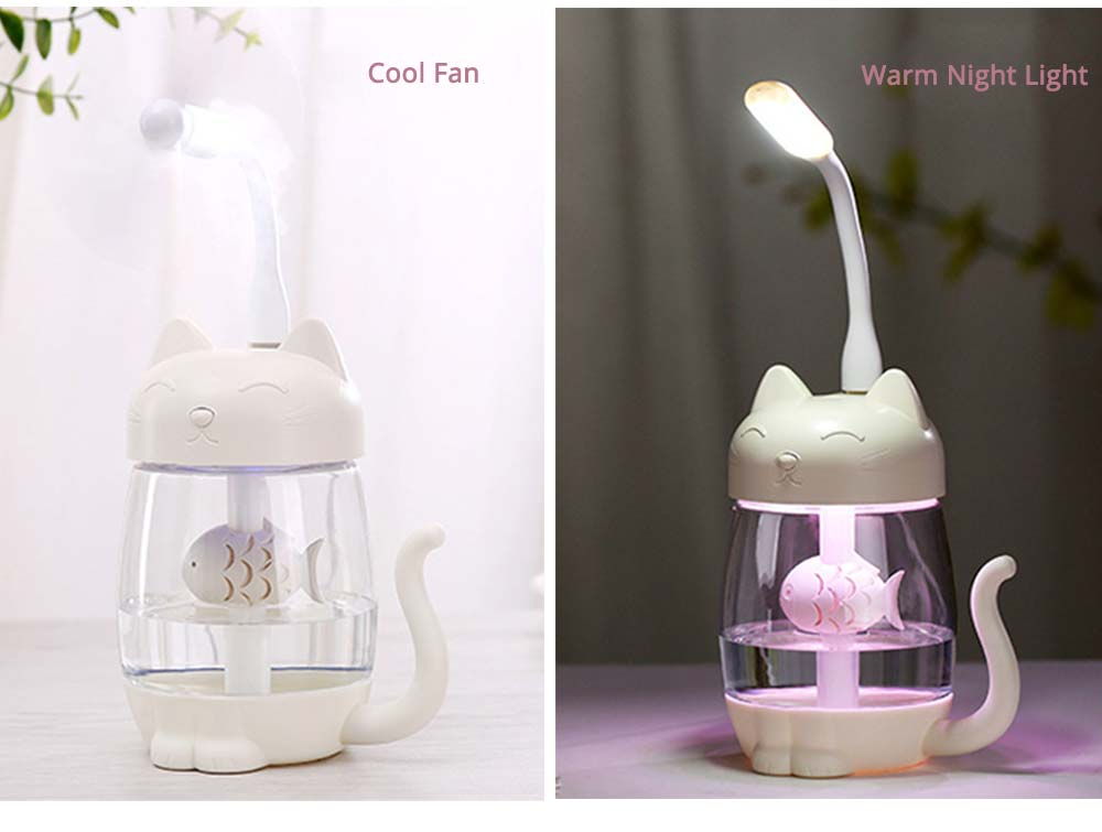 Mini Humidifiers For Bedroom, Kitten Humidifier For Air Multifunctional USB With Fan, Light Mute Humidification 5