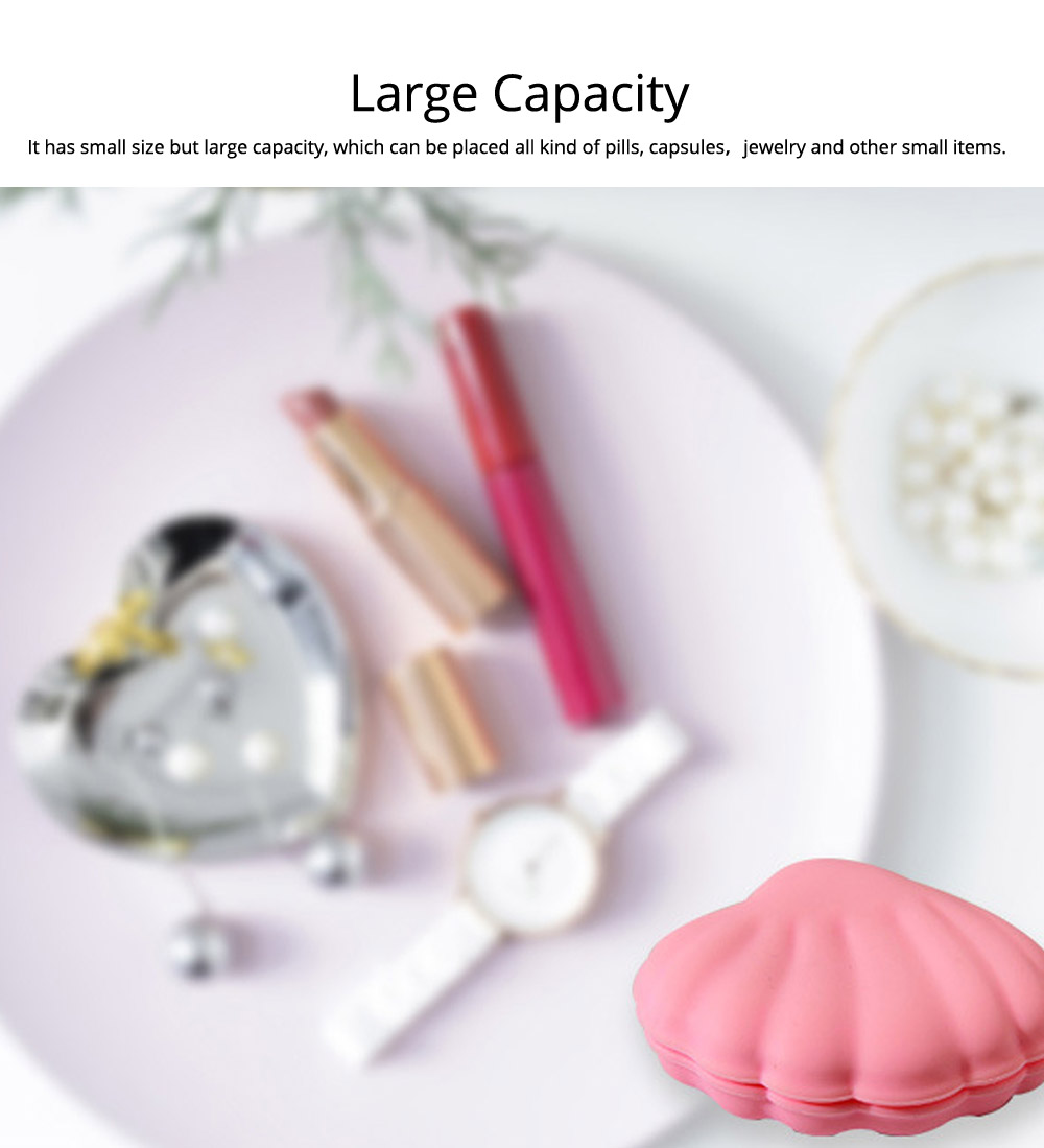Scallop Pill Storage Box Multi-function Silicone Dustproof Storage Box for Capsule Candy Jewelry Gadgets 5
