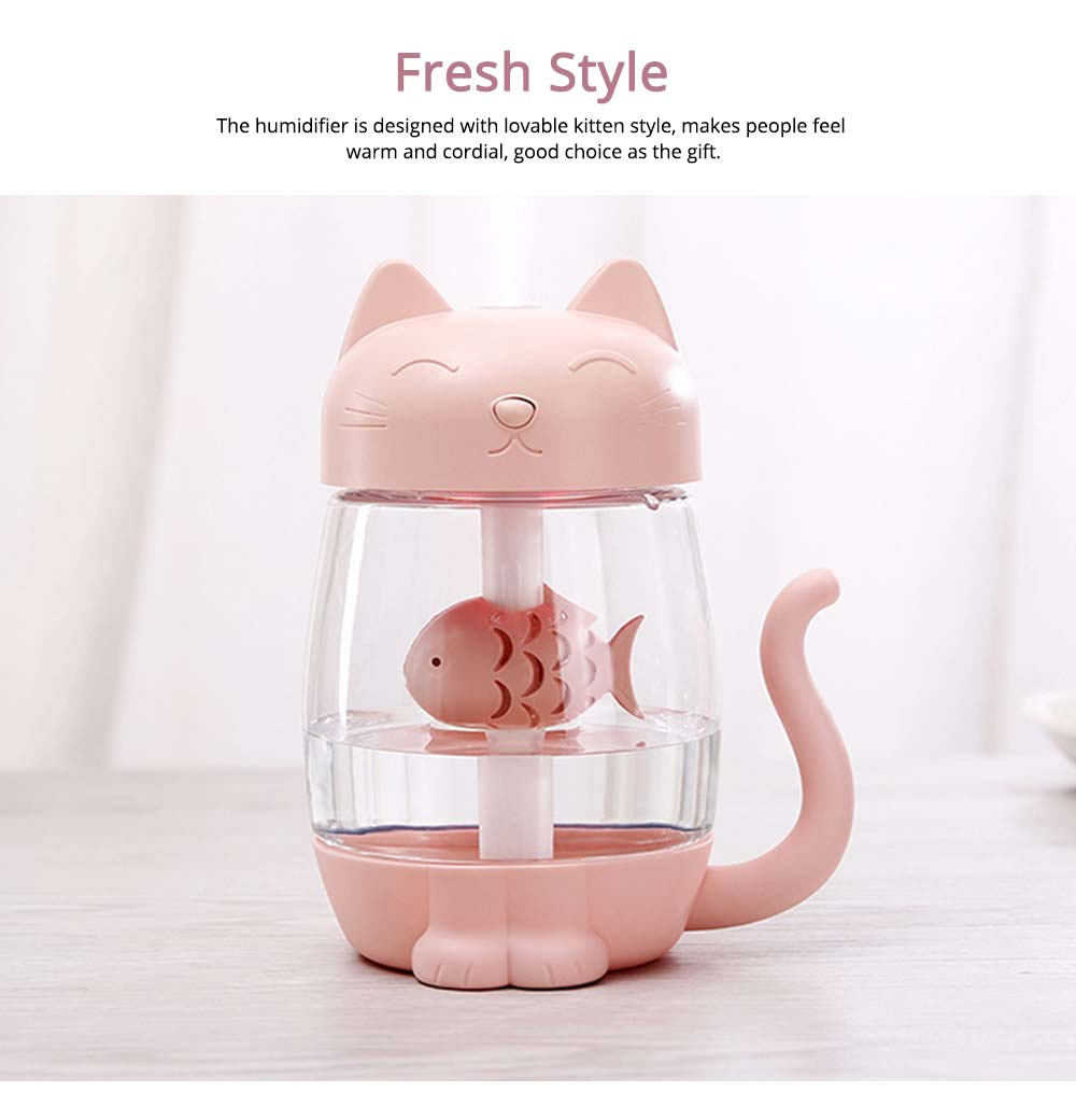 Mini Humidifiers For Bedroom, Kitten Humidifier For Air Multifunctional USB With Fan, Light Mute Humidification 2