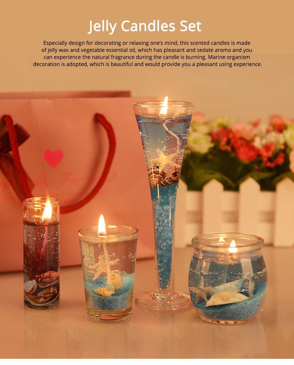 Romantic Fragrance Scented Candles Set Marine Organism Decoration, Valentine's Day Weeding Birthday Present Jelly Candle Suit 0