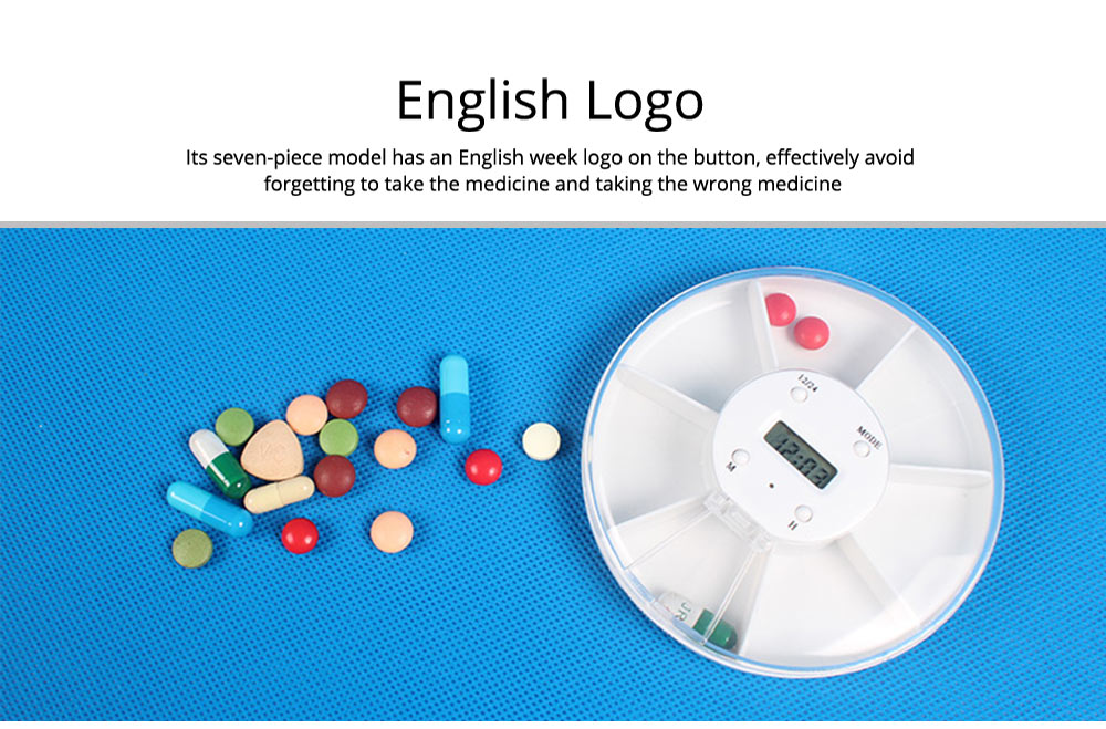 Pill Box With Timer Reminder, 7-divided Electronic Pill Reminder Box  Intelligent Electronic Kit 8