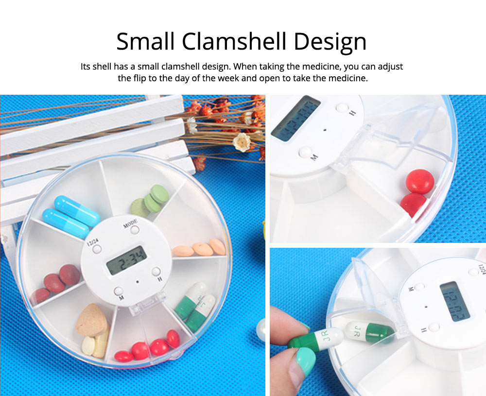 Pill Box With Timer Reminder, 7-divided Electronic Pill Reminder Box  Intelligent Electronic Kit 12