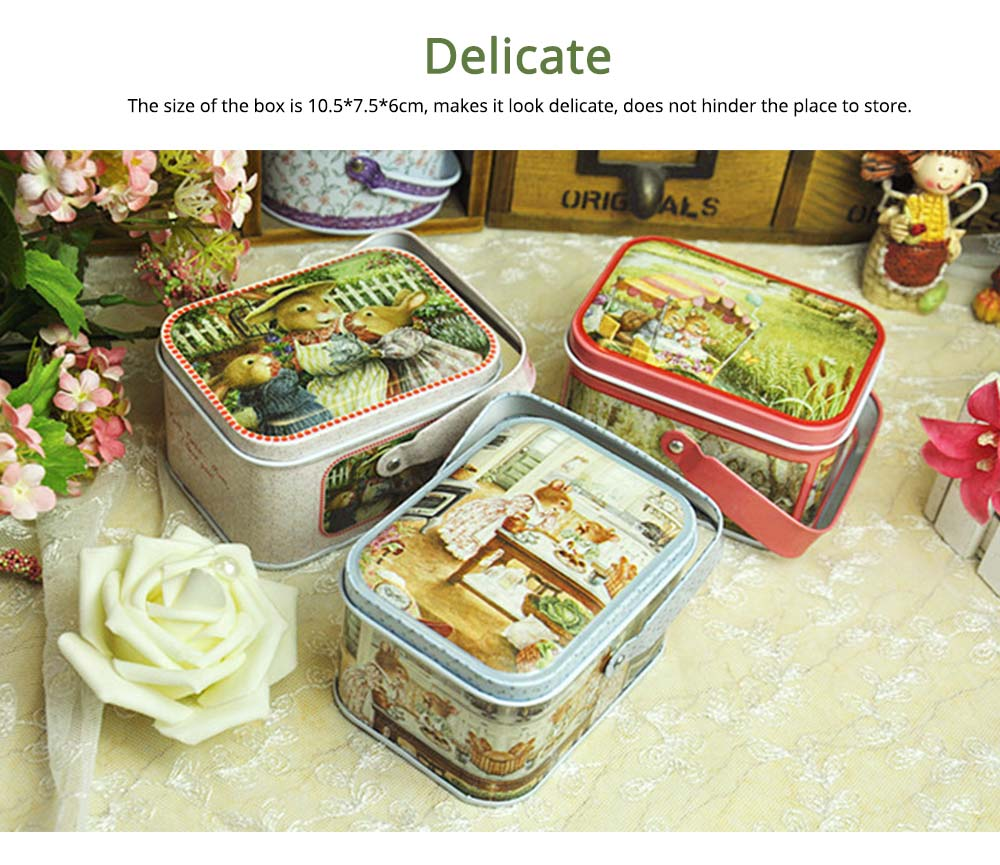Portable Candy Box with Cover, Iron Storage Box for Weeding, Party, Gathering, Gift Bag Sugar Box 2