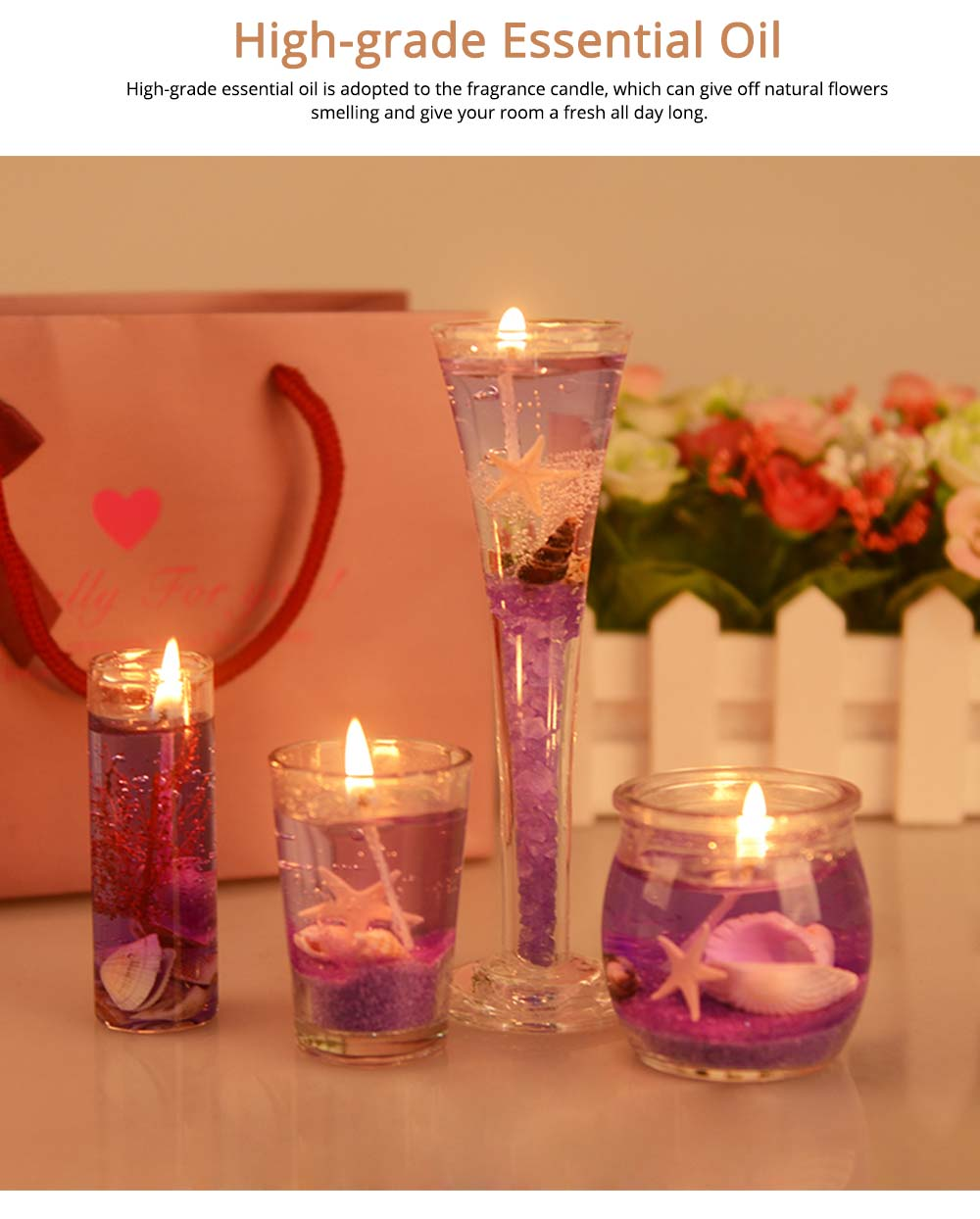 Romantic Fragrance Scented Candles Set Marine Organism Decoration, Valentine's Day Weeding Birthday Present Jelly Candle Suit 2
