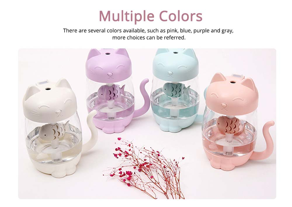 Mini Humidifiers For Bedroom, Kitten Humidifier For Air Multifunctional USB With Fan, Light Mute Humidification 3