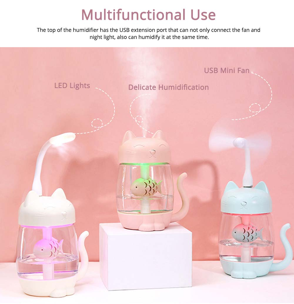 Mini Humidifiers For Bedroom, Kitten Humidifier For Air Multifunctional USB With Fan, Light Mute Humidification 4