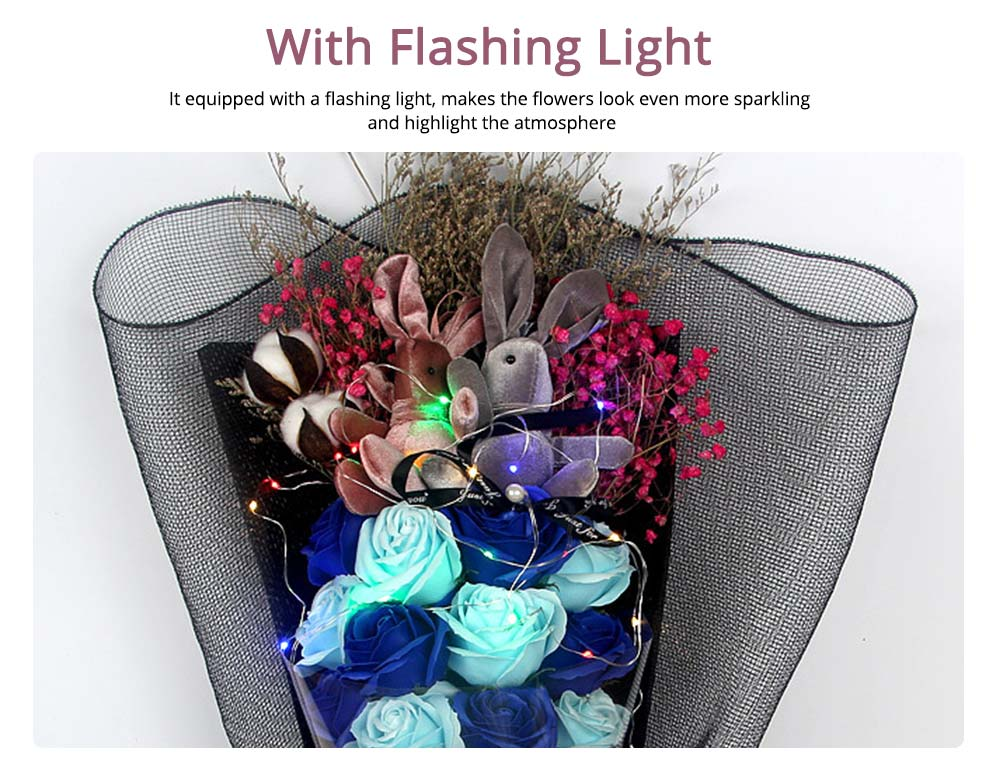 Dry Flower Rose Preservation with Flashing Light, Decorative Box and Rabbits | Valentine's Day Gift 12