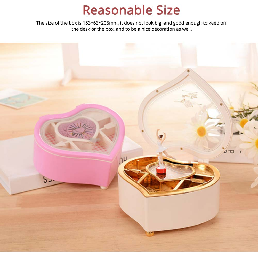 Heart Shape Music Box, Plastic Rotating Music Box for Girls, Gift for Valentine's Day, Christmas, New Year 2