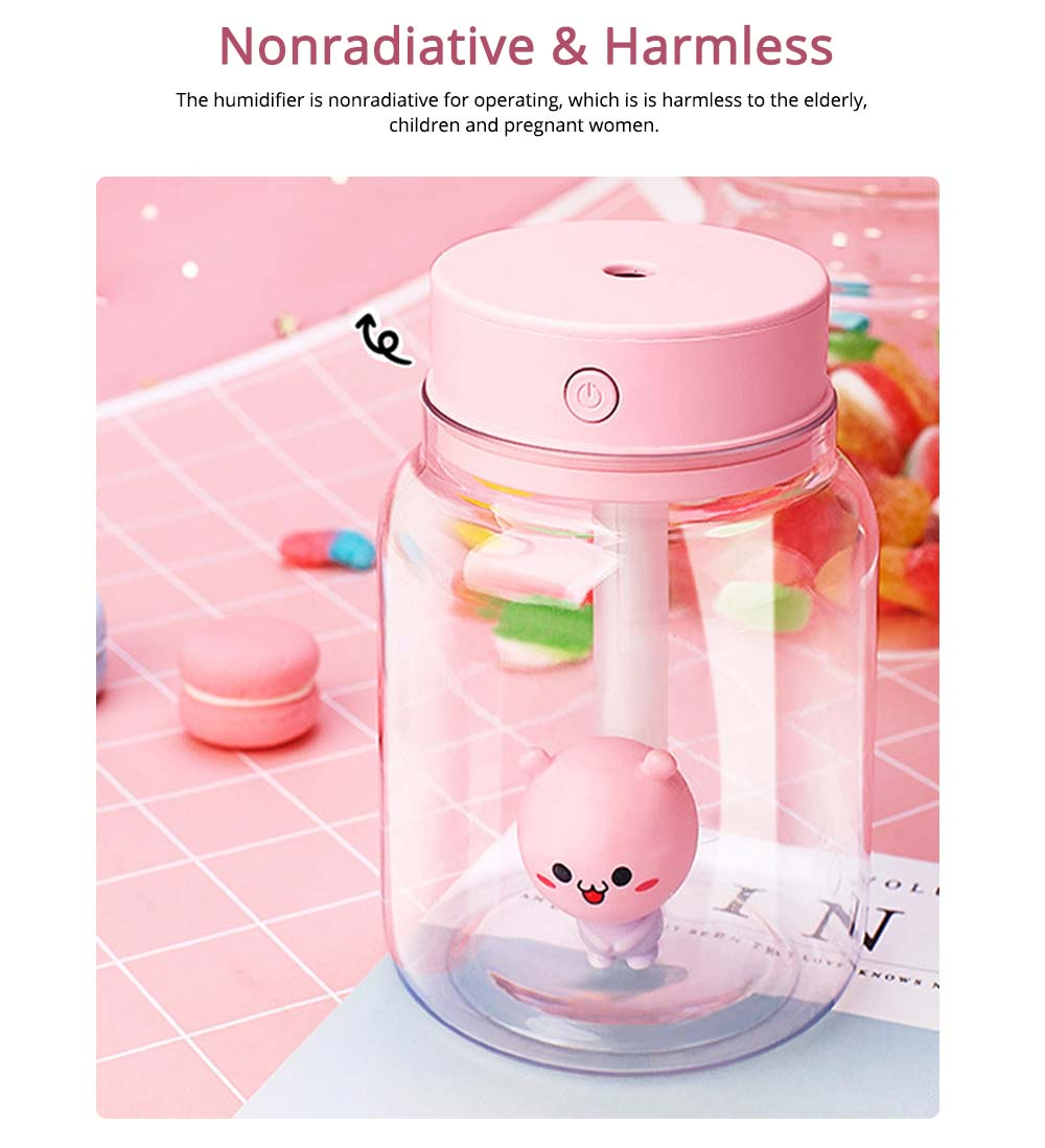 Mute Night Light Humidifier, Candy Bottle Humidifier for Office, Home, 400ML Capacity 5