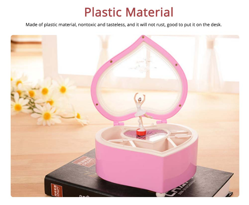 Heart Shape Music Box, Plastic Rotating Music Box for Girls, Gift for Valentine's Day, Christmas, New Year 1