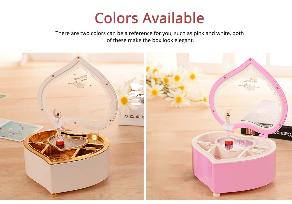 Heart Shape Music Box, Plastic Rotating Music Box for Girls, Gift for Valentine's Day, Christmas, New Year 4