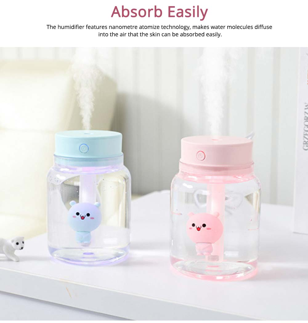 Mute Night Light Humidifier, Candy Bottle Humidifier for Office, Home, 400ML Capacity 2