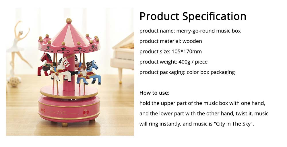 Carousel Music Box for Girls, European Style Children Day's Gift, Birthday Gift, Valentine's Day Music Box Music Toy 6