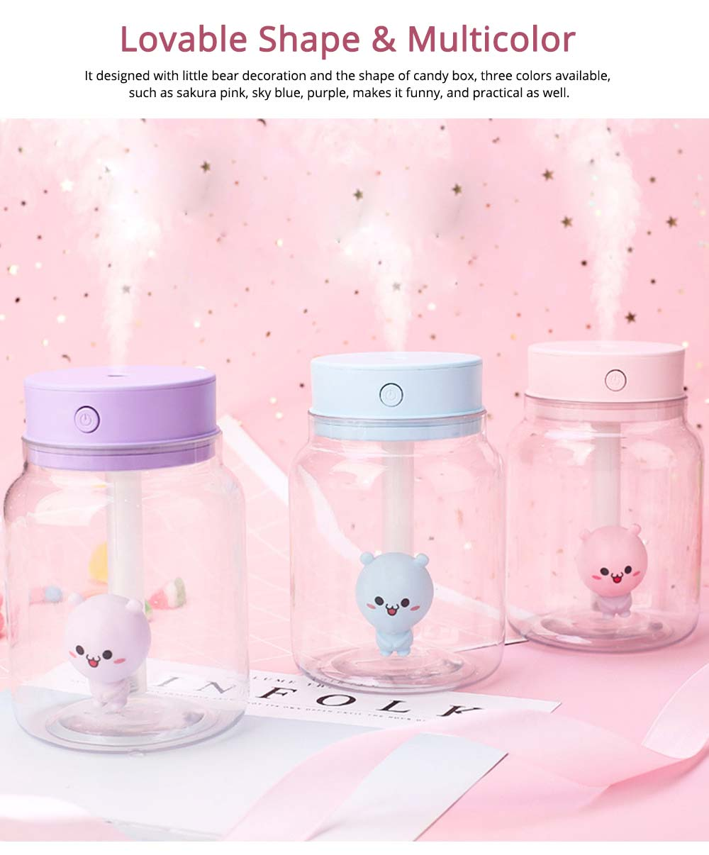 Mute Night Light Humidifier, Candy Bottle Humidifier for Office, Home, 400ML Capacity 6